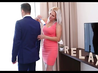 Lustful stepmom in white stockings Kathy Anderson seduces their way stepson