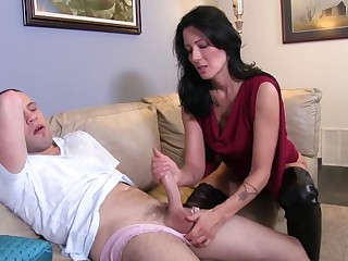 Hellacious stepmom Zoey Holloway strokes thick dick of her son