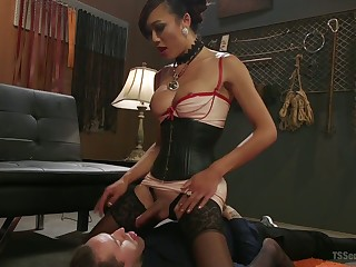 Exotic Asian T-girl Venus Lux fucks anus and deep throat of duo bisexual pauper