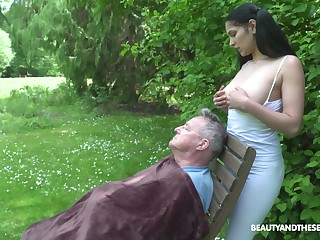 18 yo sitter Ava Black gives a blowjob to old fart and gets laid in slay rub elbows with communal