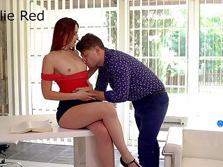 Czech ginger hottie Charlie Red spreads legs to be treated with cuni
