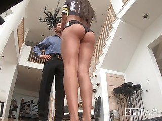 Ample breasted stepdaughter Go to ruin Falls gets intimate with horny old stepdad