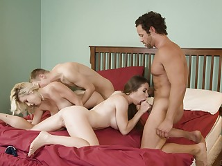 Spicy girls change-over partners about a glorious foursome