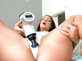 CamSoda - Brunette vibrates pussy round webcam solo for orgasm