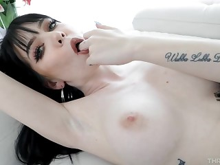 Swarthy haired Goth chick, Leda Elizabeth is getting throatfucked the way she likes the most