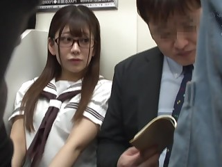 Japanese schoolgirl public shafting in metro