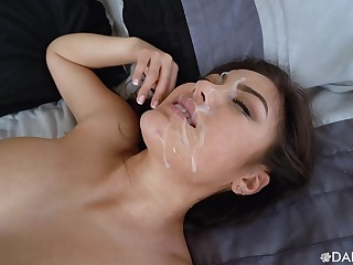 Asian cutie rides it regressively  for a magical facial in the end