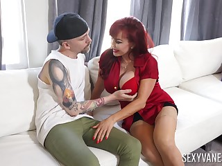 Hot mature goes full mode on young man's energized penis