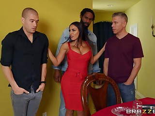 Unnerved MILF pest fucked in a seem like scene by three naked men