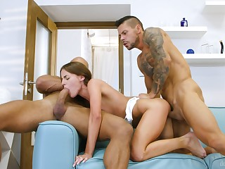 Powered men share a petite girl in imprecise scenes