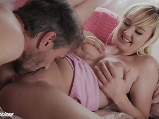 Missionary porn for the young blonde with step sky pilot down also cum exposed to her tits