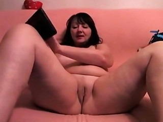 Chubby Russian Female parent Masturbates