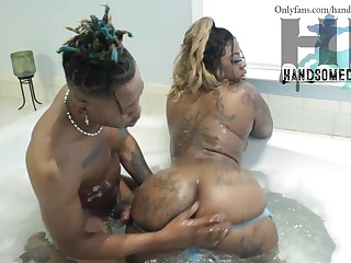 Ebony stepmom & young stepson in bath