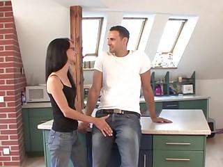 Foxy German girlfriend Christina enjoys having sex on every side the kitchen