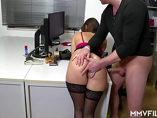 Sultry place nymphet is frequently wearing swarthy pantyhose coupled with property analed rigid, while at work