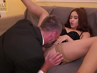 Rough sex for a babe with hairy cunt and insane thirst for sperm