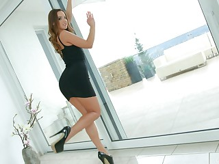 Mettlesome beauty shows off toying her charming cunt like a goddess