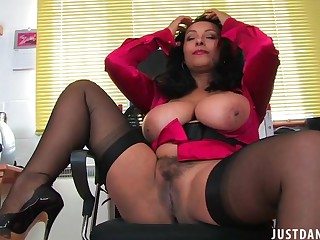 Foxy of age Danica Collins plays with her giant tits and pussy