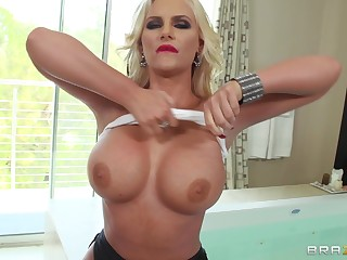 Dirty wife Phoenix Marie enjoys having coition with two massive dicks