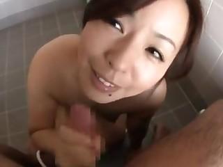 Naughty Japanese model enjoys soapy POV and facial